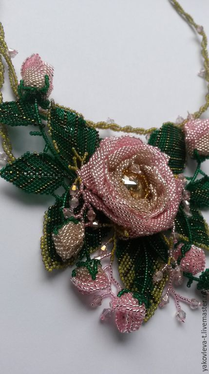 """Buy Necklace """"Flowers"""" - pink, necklaces, flower, flower necklaces, beaded jewelry, Necklace"""