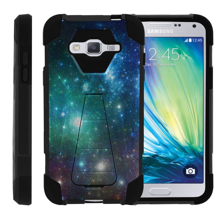 Samsung Galaxy J3 Slim Case, Amp Prime Kickstand Case, Express Prime Case [SHOCK FUSION] Slim Fitted Silicone Heavy Duty Cover Kickstand Defender Case by Miniturtle® - Blue Space Specs