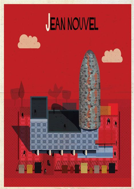 Archibet alphabet of architects by Federico Babina | Jean Nouvel