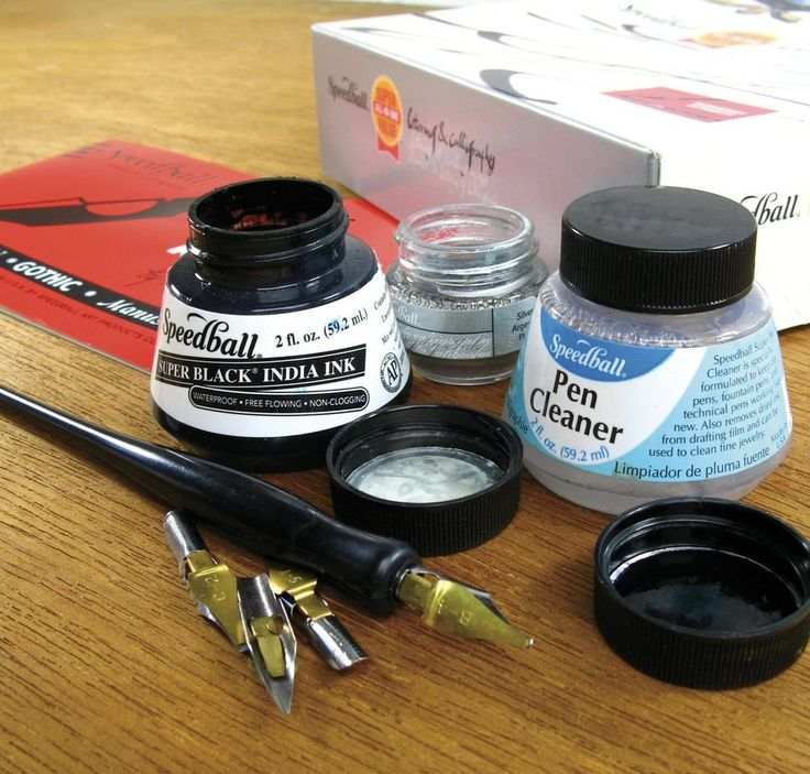 This all-in-one kit includes all the essentials to get started in drawing, lettering or calligraphy. Great for beginners and students. Includes (1) ea. of the following: 2 oz. (59.1 ml) Super Black India Ink and Pen Cleaner; .41 oz. (12ml) Super Pigmented Acrylic Drawing & Lettering Ink (Silver); C1, C2, B4, and A5 Pen Nibs; Speedball Pen Nib Holder; Speedball Elementary Alphabets instruction book; practic paper.