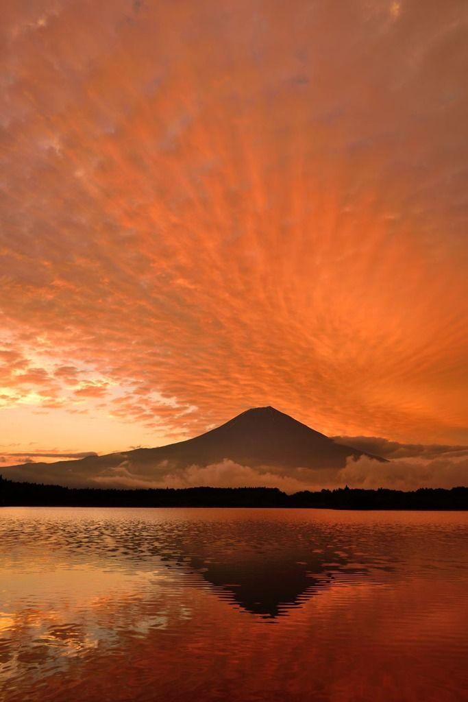 Sun set. Mt. Fuji, Japan.