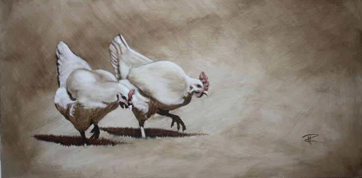 2 Chicken in Oil paint