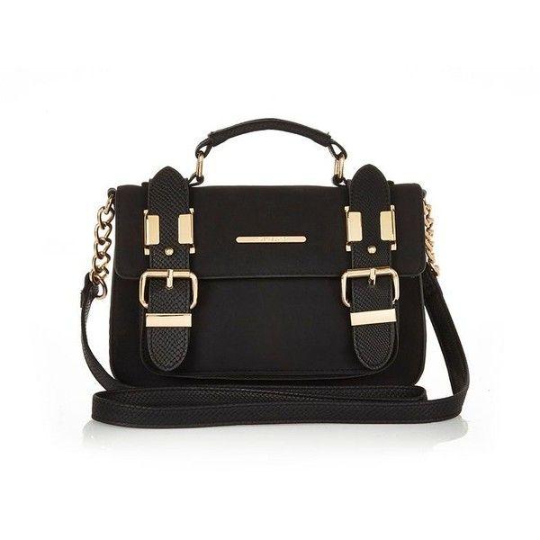 River Island Black faux suede mini satchel handbag (€29) ❤ liked on Polyvore featuring bags, handbags, mini satchel purse, black purse, satchel handbags, mini handbags and black hand bags