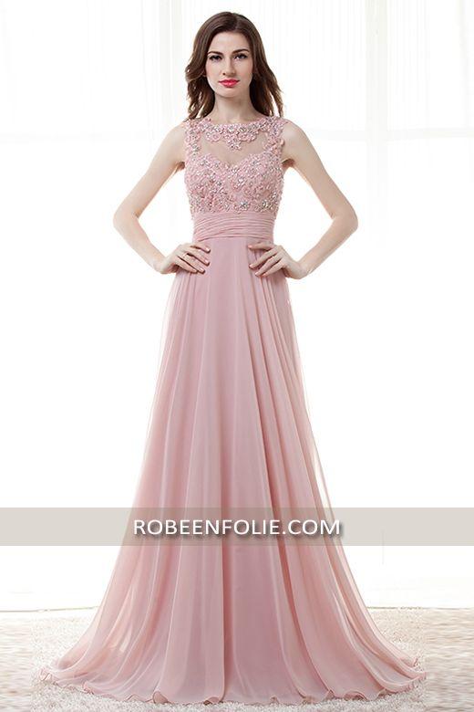 Jolie robe de soirée longue en rose bustier brodé avec transparence et un dos nu arrondi