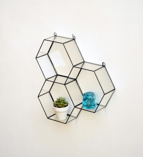Wall honeycomb stained glass terrarium. It is a modern home decoration. This geometric planter is handcafted from 2mm clear glass. 3 honeycomb.