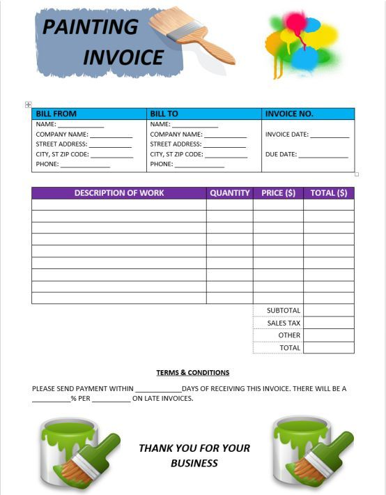 Painter Invoice Template 6 Free Invoice Templates In Word Demplates Invoice Template Invoicing Templates