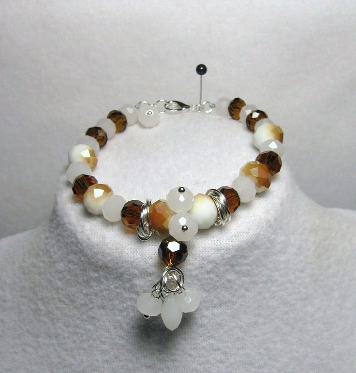 "Item 1363a - ""Swarovski Caramel Delight"" Swarovski Topaz and White Opal Crystals, White Opal Tear Drop Crystals, Glass Caramel Glass and ChainMail Bracelet $34 + $4 S&H. (SEE MATCHING NECKLACE) Visit all my BEAUTIFUL jewelry pages, just follow the link: https://www.facebook.com/linda.foust.9?sk=photos..."