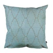 EXOTICO CUSHION - NILE BLUE The striking yet understated Exótico features a laser design inspired by Moroccan tiles.  This beautiful repeat design creates a sophisticated aesthetic in any interior.  This cushion has been hand made by skilled artisans, each cushion is unique and one of a kind.  Cushion measures 50 x 50cm. Comes with Tonal Suedette Backing.  PET Fill included.