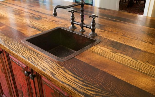 Recycled barn wood counter top.
