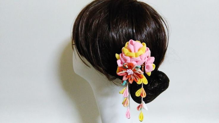 Tsumami zaiku Kanzashi flower hair stick,yellow ans pink flower by chirimenbunny on Etsy