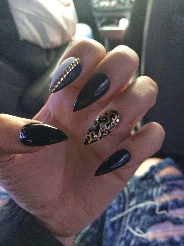 Best stiletto nail designs want black-gold-stiletto-