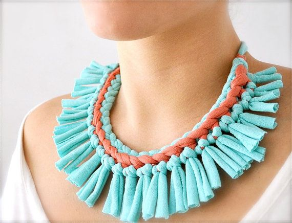 Turquoise and Coral Fabric Necklace  Pastel Tribal by Pamplepluie, $24.00
