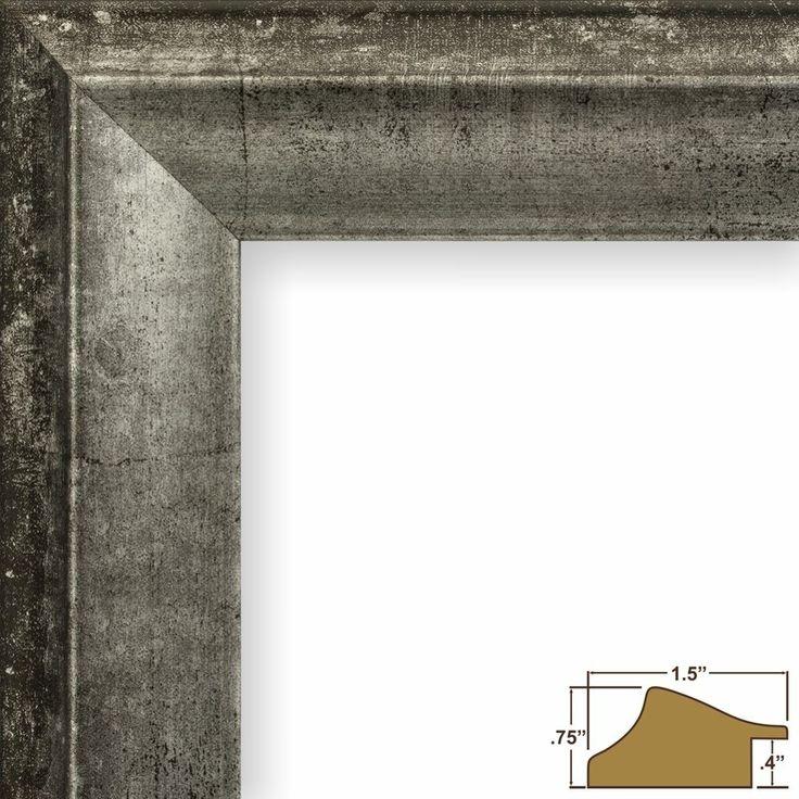 "1.5"" Vintage Silver and Black Wood Composite Picture Frame Poster Frame (203306)"