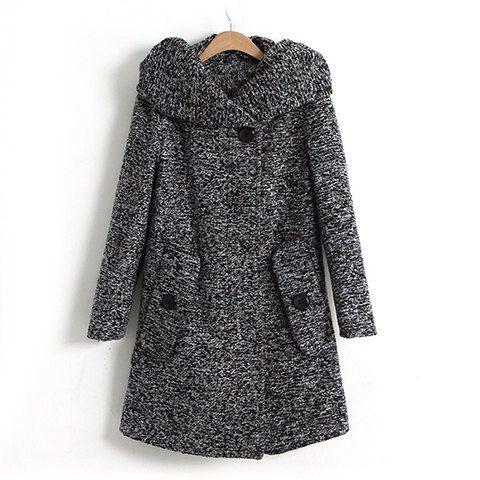 Hooded Long Sleeves Modern Style Cotton Blend Pockets Design Women's Coat