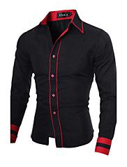 Men's Daily Work Business Plus Size Cotton Slim Shirt – Color Block Black & Red, Basic Spread Collar Gray L / Long Sleeve / Spring / Fall
