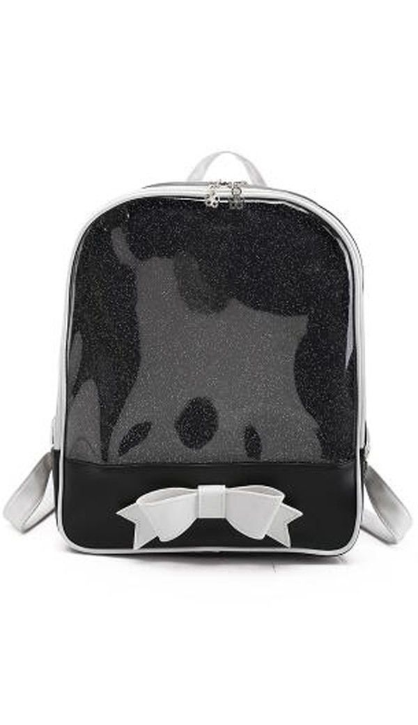 CLEAR ita bag Kids Girls School Bags Transparent itabag Pin Display Backpack New