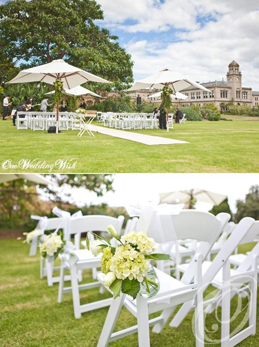 Always gorgeous at Werribee Mansion / Mansion Hotel and Spa at Werribee Park / White on green / Garden Ceremony