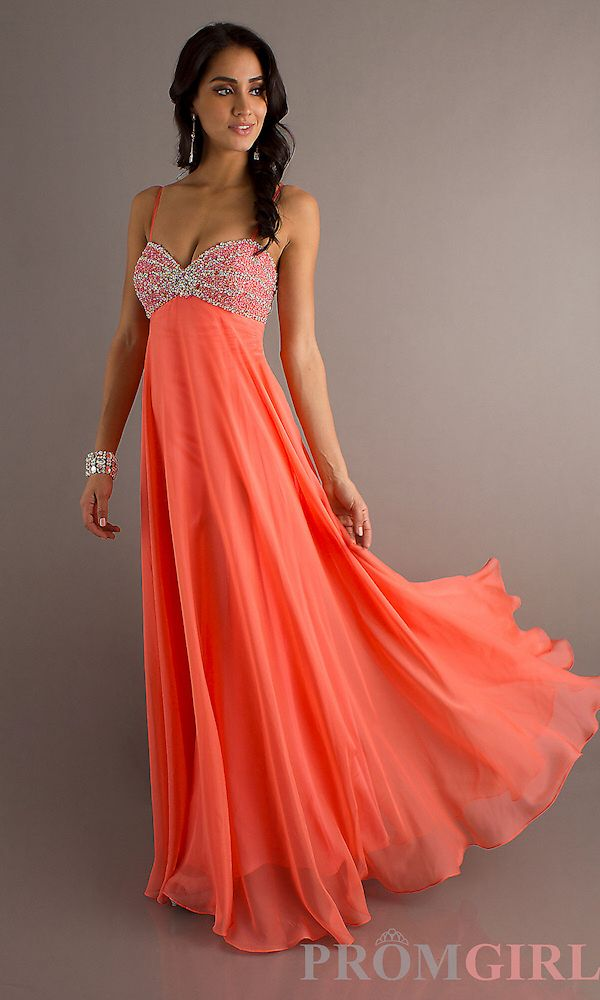 Long Coral Prom Dress Coral Prom Pinterest Colors