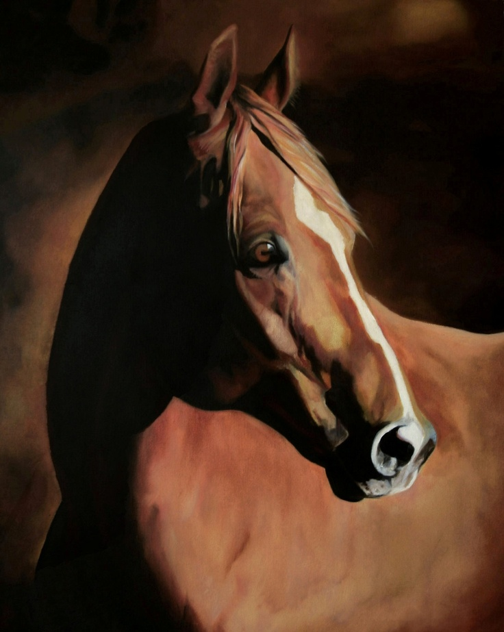 CHESTNUT HORSE PORTRAIT, oil painting of a retired racehorse. 11x14 archival high quality print..