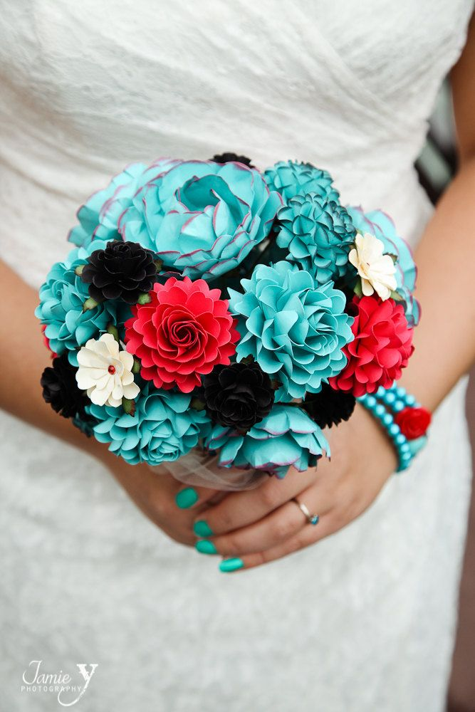 Teal, Red and Black Rock and Roll Inspired Handmade Paper Flower Wedding Bouquet - Customize your Style and Colors - Made To Order. $125.00, via Etsy.