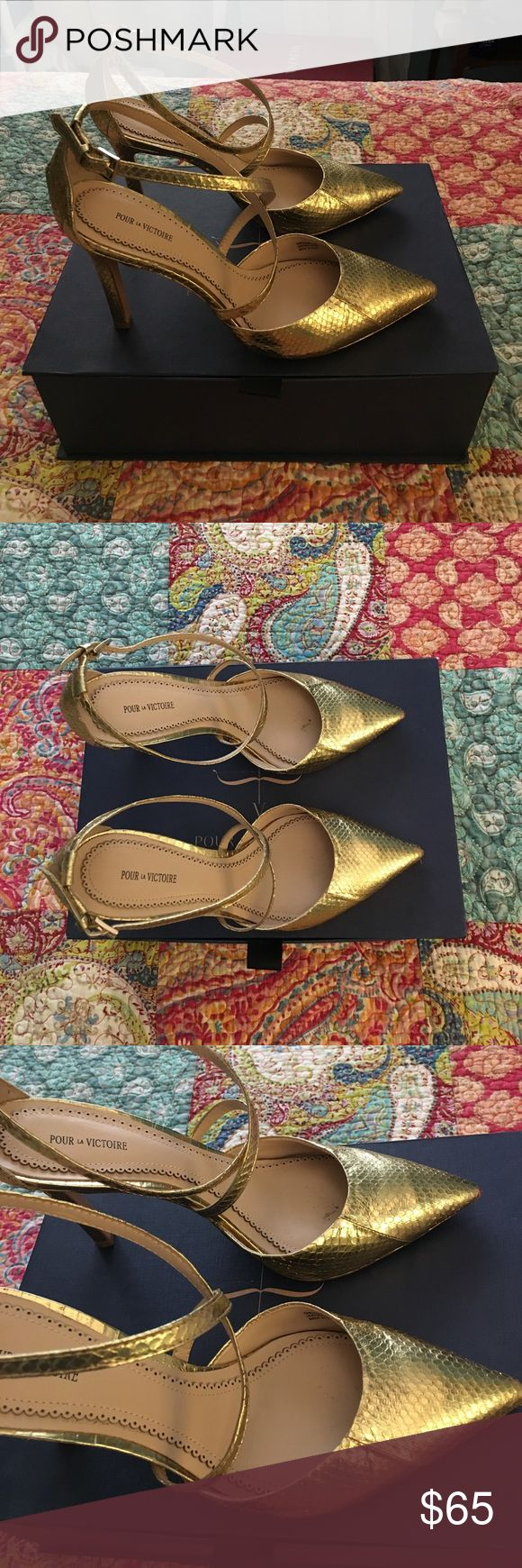 Pour La Victoire Shoes Gold snakeskin Cheyenne shoes, size 9.5 These were bought a few years ago for New Year's Eve and they've only been worn a handful of times.  Still in excellent condition, looking for a new loving home, just in time for the holidays! Crisscross straps and a point toe Will come with original box and an extra set of heel stoppers. Pour La Victoire Shoes Heels