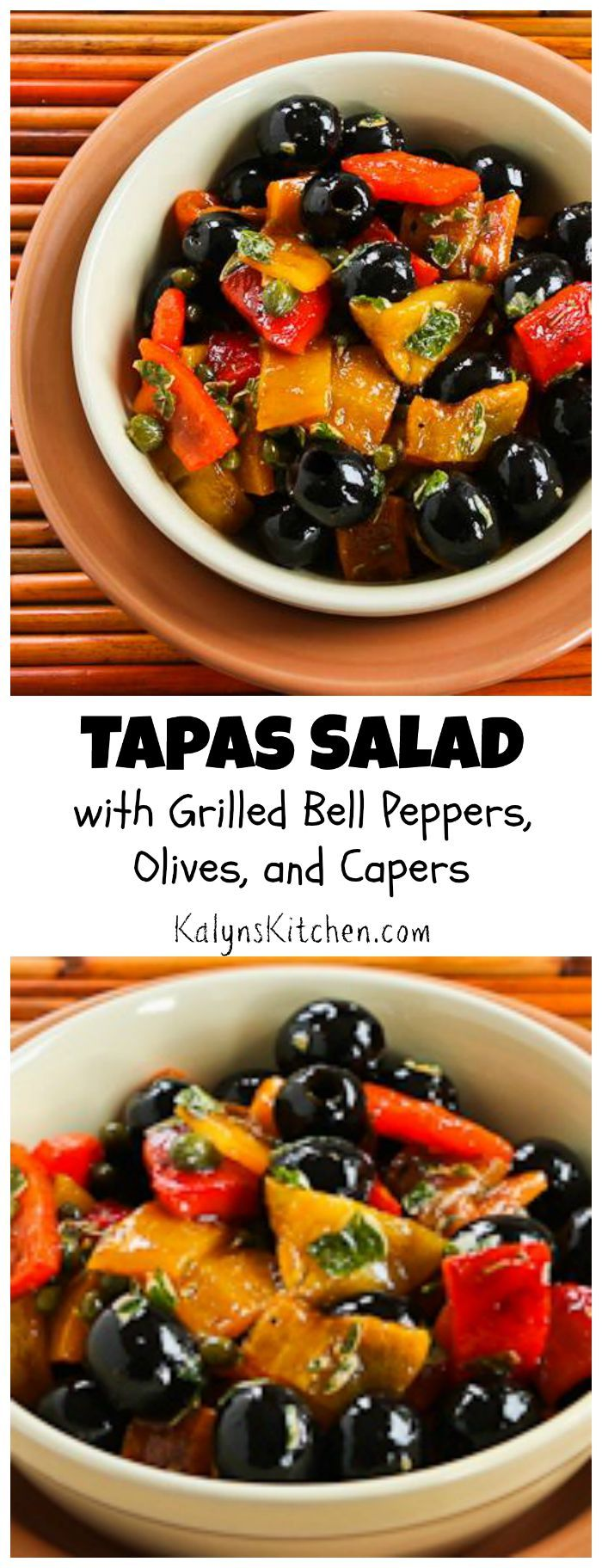 This Tapas Salad with Grilled Bell Peppers, Olives, and Capers is a perfect #LowCarb and #Paleo summer treat. Grilling the peppers is simple and adds fabulous flavor! [from KalynsKitchen.com]