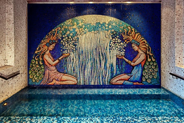 The stunning Mediterranean mosaic overlooking the lap pool and spa.- Park Hyatt Melbourne