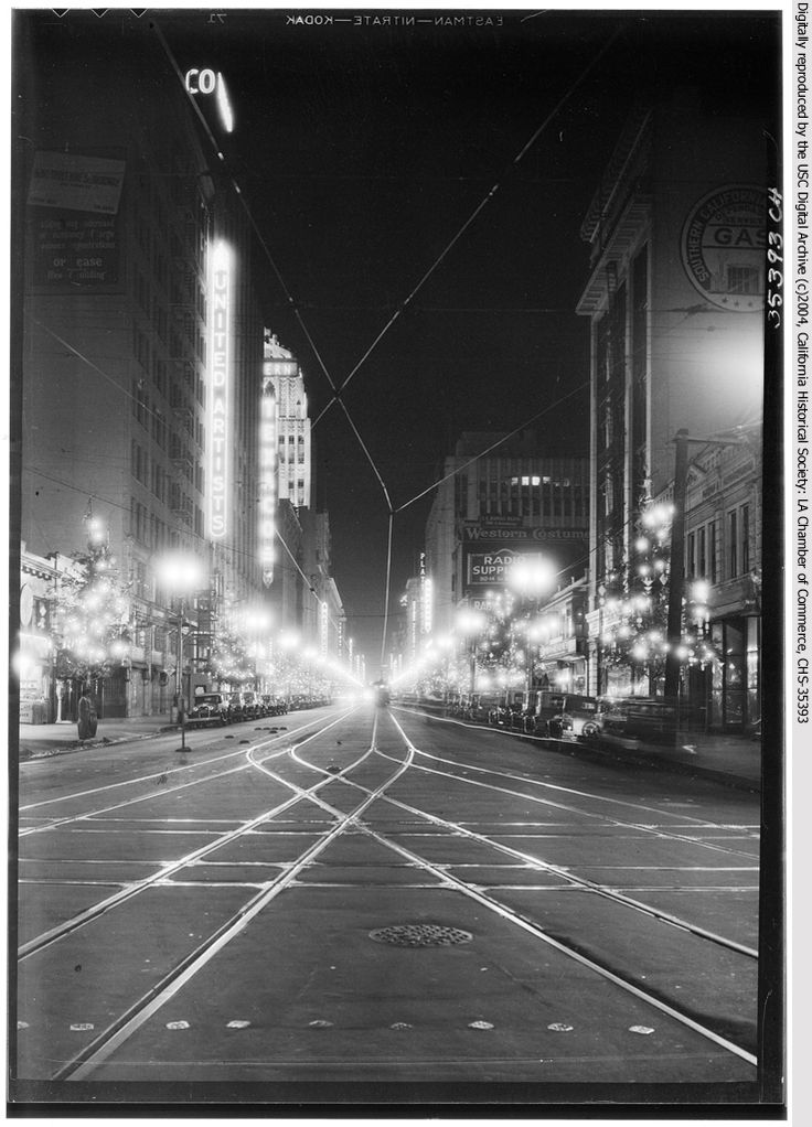 Downtown LA in 1930s. (View is of Broadway, looking north from Olympic. Visible on the left side of the street is a sign for the United Artists Theater. Behind the theater are the Texaco and Eastern Columbia buildings.)