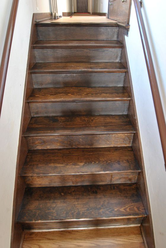 Dark Walnut Stain On Pine | Pine Stairs stain Dark « All City Hardwood Floors Denver CO