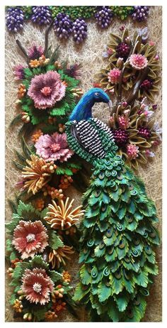 Peacock in paper quilling                                                                                                                                                     More