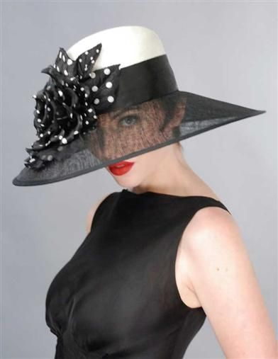 LOUISE GREEN INGENUE HAT....Love the black and white.....and polka dots!!
