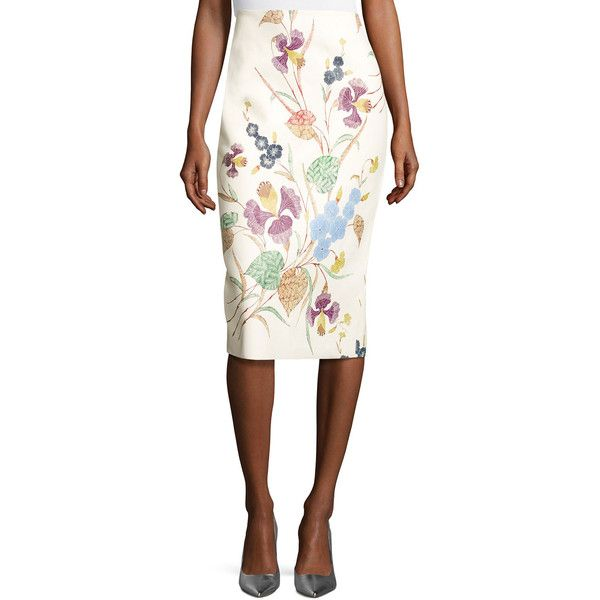 Diane Von Furstenberg Floral Leather Midi Pencil Skirt (2 225 BGN) ❤ liked on Polyvore featuring skirts, multi, white leather skirt, leather pencil skirt, floral pencil skirt, leather skirt and midi skirt