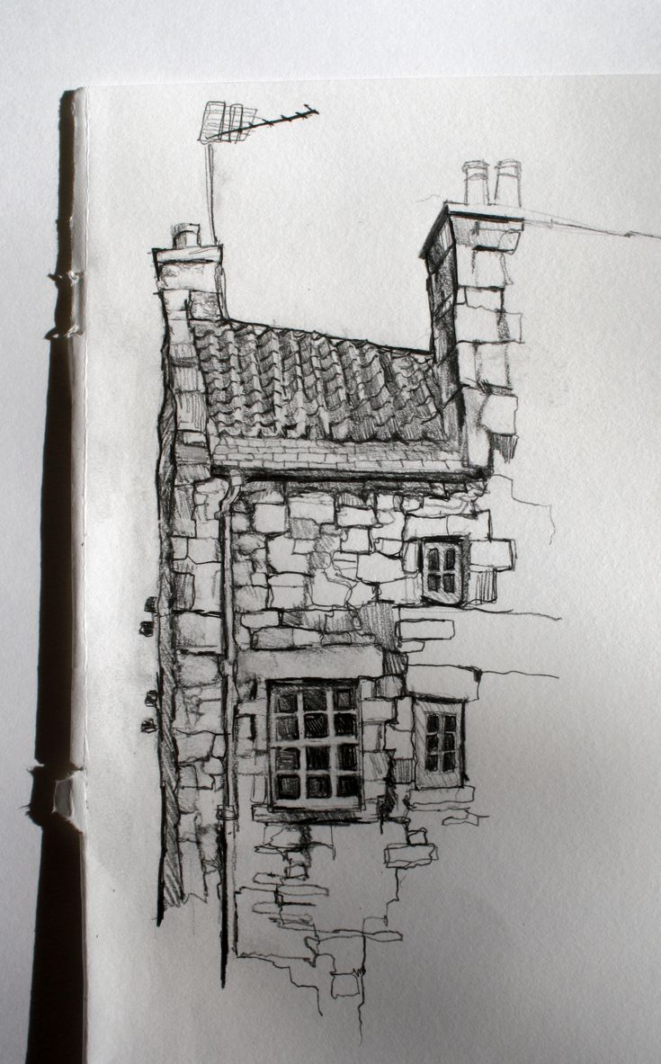 Sketch of building in Dean village, Edinburgh by Aileen McGibbon. Pencil on paper.