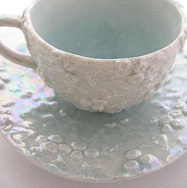 Edwardian lace teacup and saucer