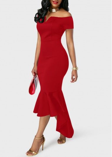 Off the Shoulder Asymmetric Hem Red Sheath Dress | Rosewe.com - USD $33.08