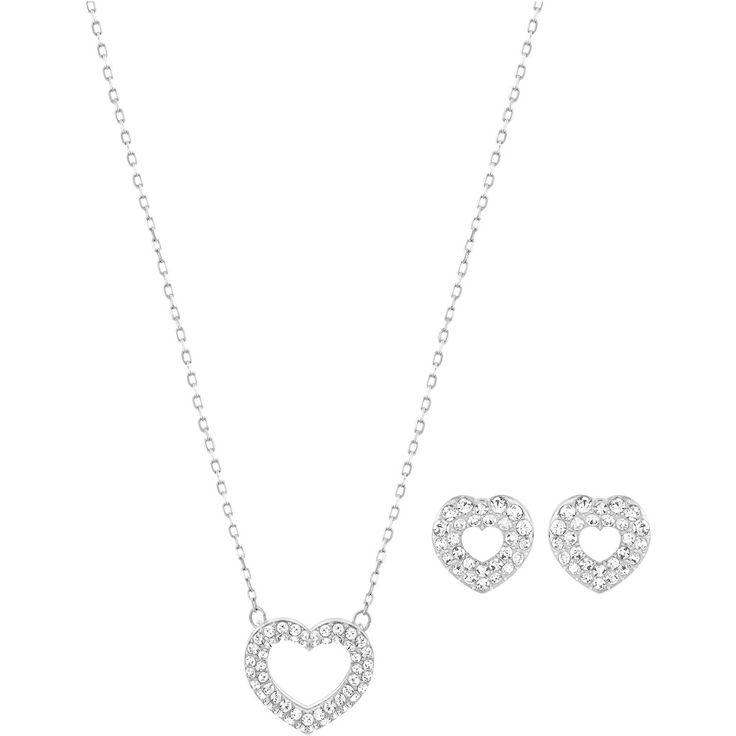 Swarovski women's jewellery set, necklace and earrings, rhodium plated, white crystal, 5272368