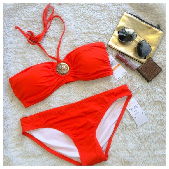✨MICHAEL KORS✨ Orange small NWT Brand new with tags, I bought impulsively, and realized Orange is not my color  don't hesitate to ask any questions or make an offer MICHAEL Michael Kors Swim Bikinis