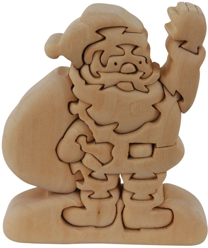 Scroll Saw Wooden Puzzles | Santa Wooden Puzzle - 3D Wood Jigsaw ...
