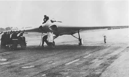 Germany's Horten IX V2 ... the world's first turbojet-powered flying wing is prepared for flight tests somewhere in Germany in January 1945.  Never progressing beyond the experimental stage, it was nevertheless far advanced beyond anything the allies had considered, even into the realm of radar deflecting stealth technology.