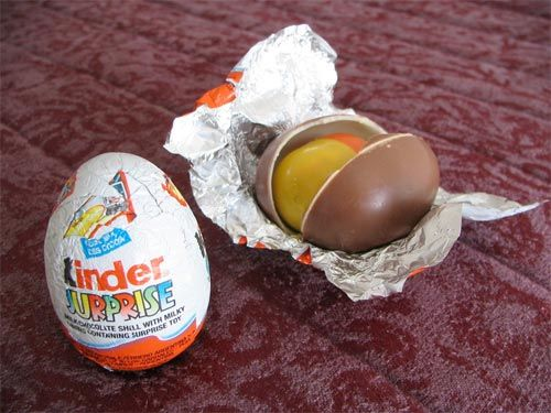 kindereggs Available in Germany and some other countries but not US because of toy inside. Had one~very good chocolate