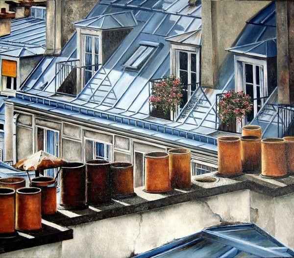 Тихие городские улочки на картинах Мари-Клер Умо (Marie-Claire Houmeau)