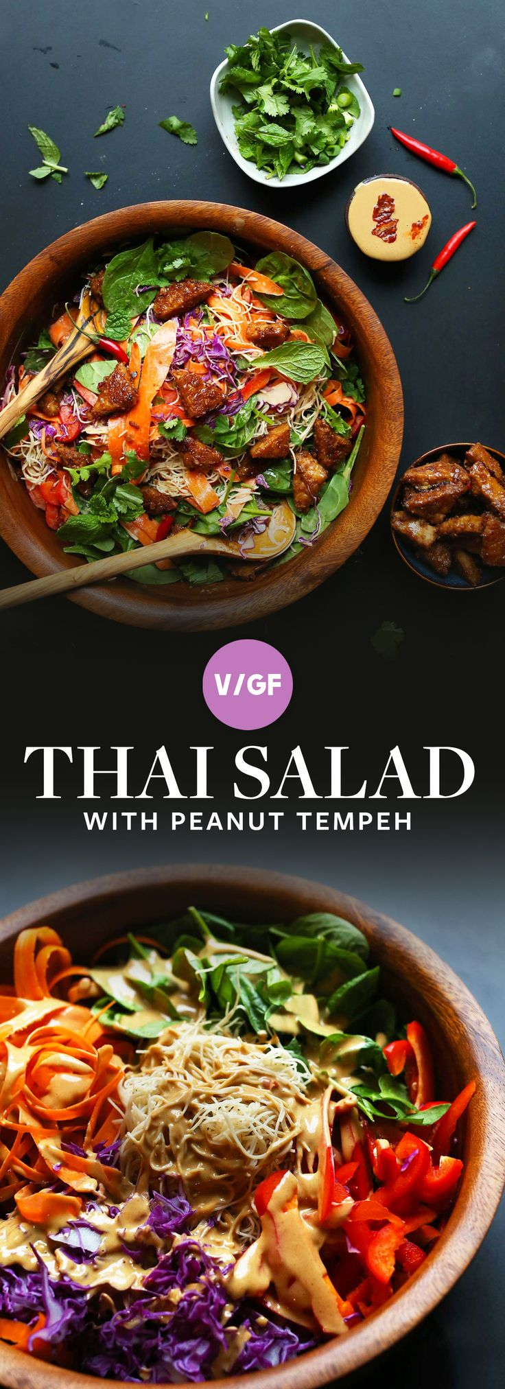 30-minute rainbow Thai salad with veggies, noodles, and marinated peanut tempeh! Dress with peanut sauce for a flavorful, healthy, plant-based meal! (Chicken Sauce)