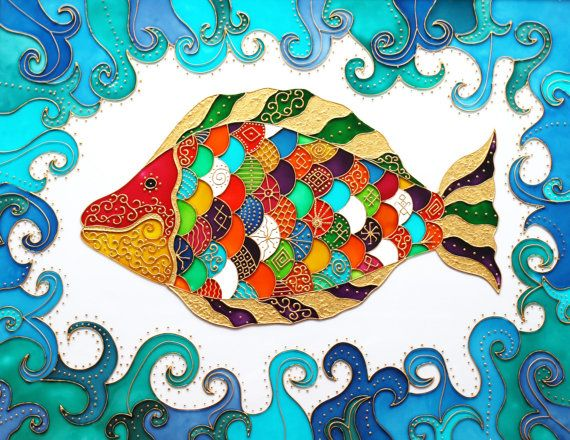The Fish Glass Painting glass art by GlasssMagic on Etsy, vitrage