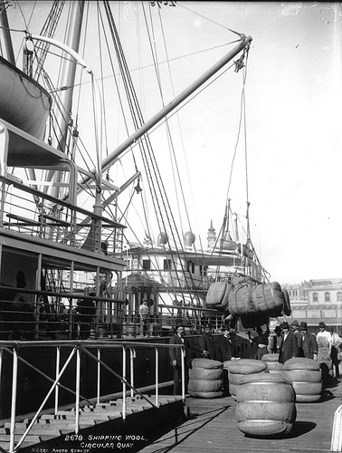 Shipping wool overseas, from Circular Quay, Sydney, Australia. (Photo undated).  .v@e.
