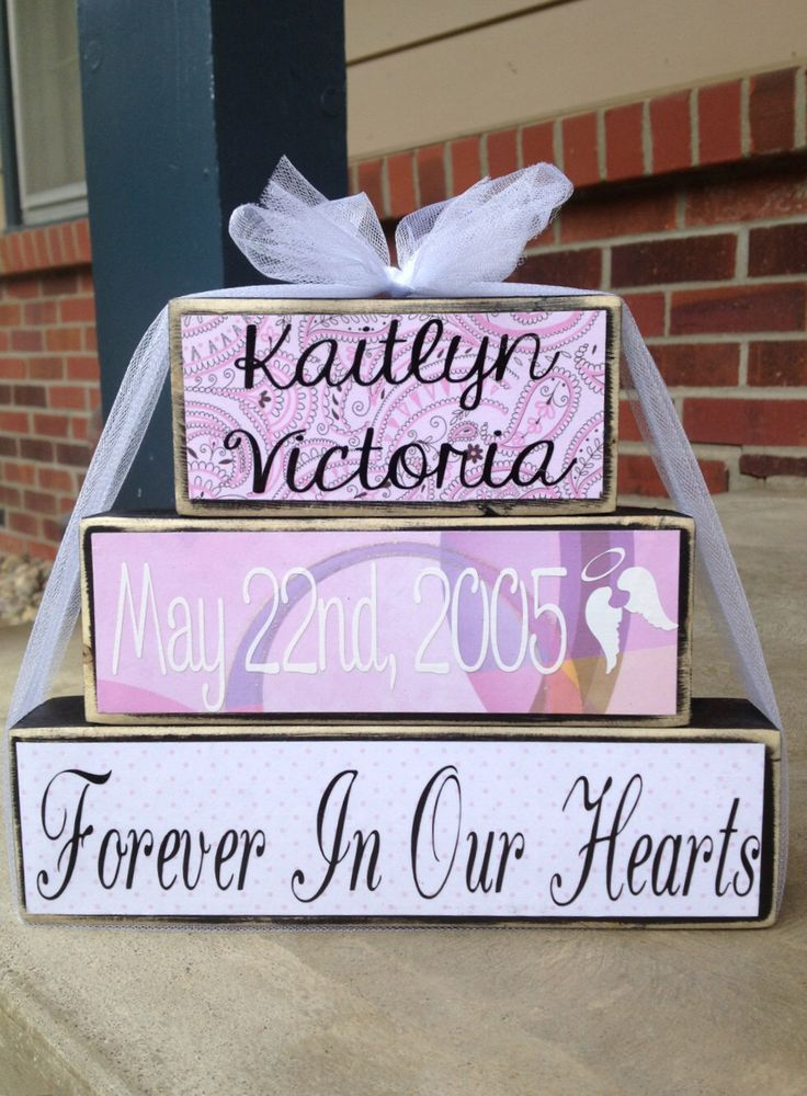 Stillborn memorial wood block set in loving memory loss of baby or loved one honor baby born sleeping angel baby memorial by FromTheMillWoodBlock on Etsy https://www.etsy.com/listing/155198418/stillborn-memorial-wood-block-set-in