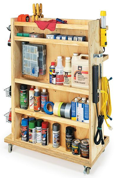 Rolling garage cart with shelves, hooks, & pegboard.  Great idea for misc stuff.