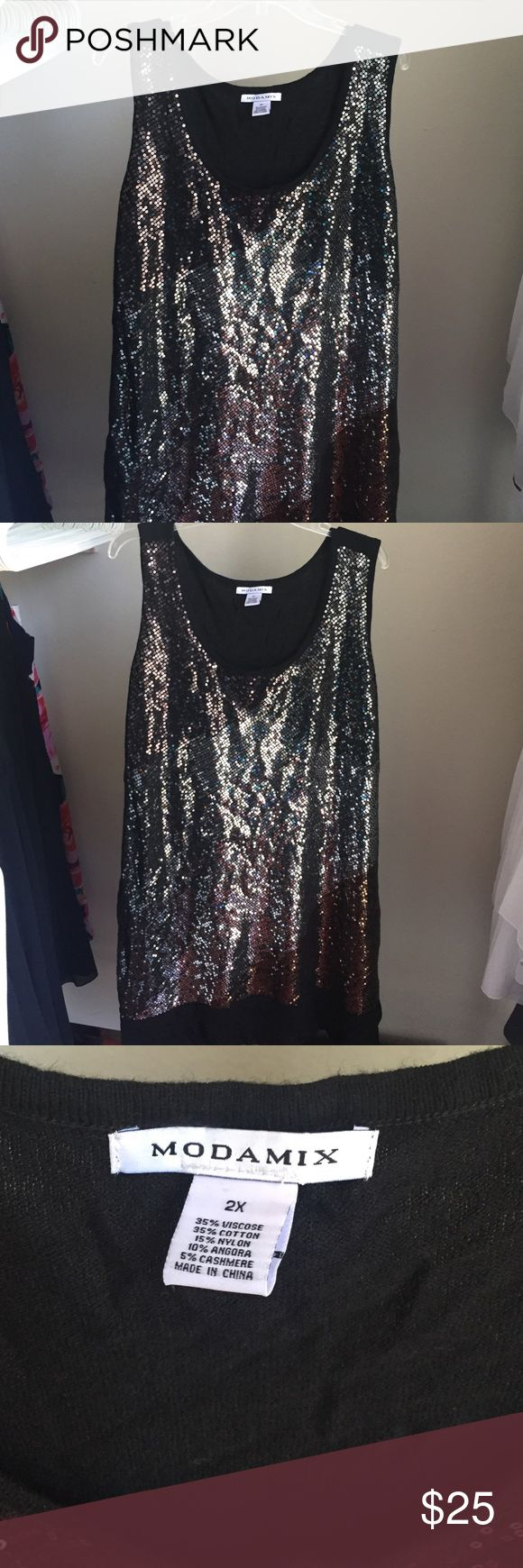 Modamix sequin sleeveless sweater dress size 2x Sleeveless swester dress with sequin front size 2x worn once for shoot Dresses Midi