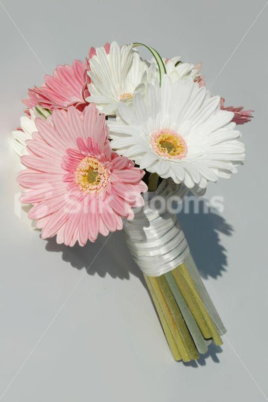 Beautiful Pink and White Real Touch Artificial Gerbera Bouquet