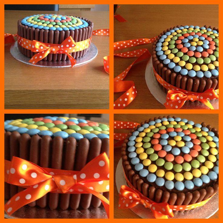 Smarties & chocolate finger cake