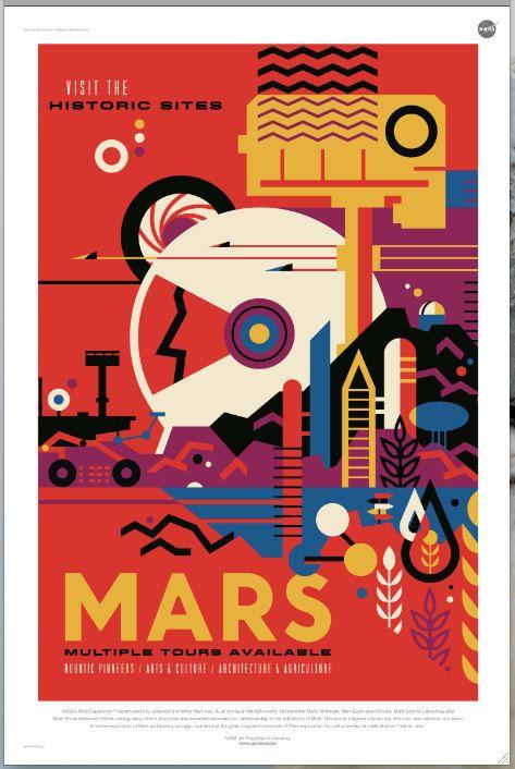 MARS Nasa / JPL Poster Galaxy Travel Poster by PearlShoreCat